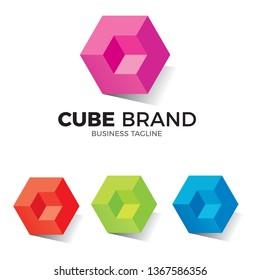 3D cube logo concept on white background