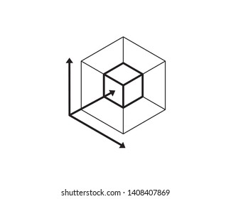 3D cube object dimensions, 3-axis xyz. Virtual reality line art icons, symbols, logos, drawings, illustrations, signs, doodles for web, business, online