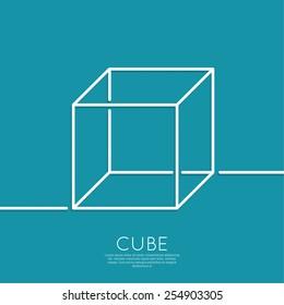 3d cube on a blue background. geometric figure. Outline. minimal.