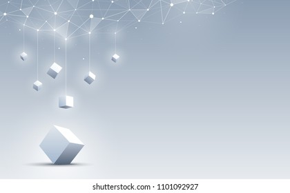 3d cube on the floor with among a group of cubes hanging from the top. Science and technology background. Big data and Internet. Abstract background. Vector illustration.