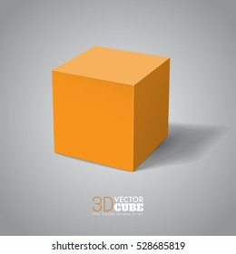 3d cube.  Orange box. Vector for your graphic design.