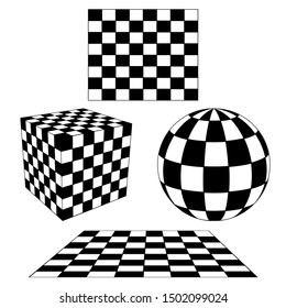 3D Cube, sphere, Plan Geometry Checkered pattern