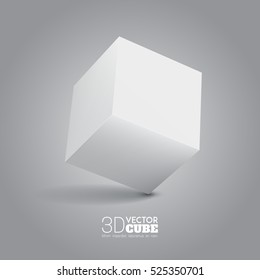 3d cube.  White box. Vector for your graphic design.