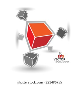 3d cubes background, black and white, red and orange colors, eps10 vector.