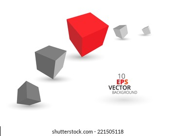 3d cubes background, eps10 vector.