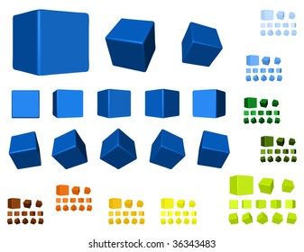 3d cubes color variations