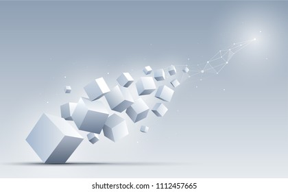 3d cubes floating into the light. Science and technology background. Big data and Internet connection. Abstract background. Vector illustration.