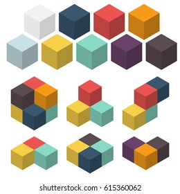3D cubes. Set of colored spatial figures. Vector illustrations. Different combinations of cubes. Geometric logo isolated on white.