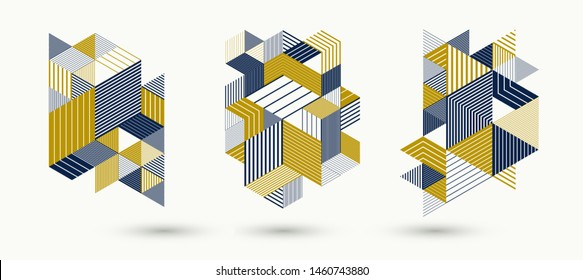 3D cubes and triangles lined stripy abstract vector backgrounds set with retro style elements isolated and easy to use or edit. Templates for posters or banners, covers or ads.