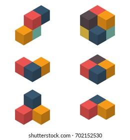 3D cubes vector illustration