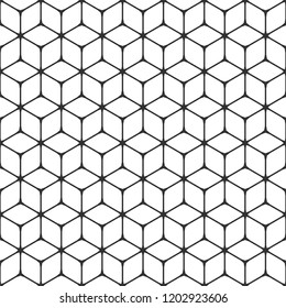 3D cubic grid. Abstract geometric seamless vector pattern. Minimalistic symmetrical design. Rhombus, hexagons and lines with central nodes.  Cubic texture for covers and backdrops. Square structure.