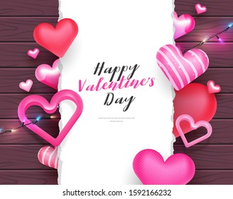 3d cute valentine's day letter banner card with decorative string lights, hearts and torn paper for text on a wood background vector