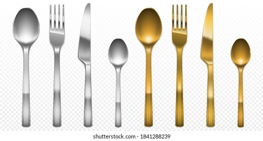 3d cutlery of golden and silver color fork, knife and spoon set. Silverware and gold utensil, catering luxury metal tableware top view isolated on transparent background, Realistic vector illustration