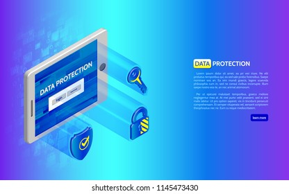 3D Cyber security technology concept. Abstract isometric tablet and protection icons, shield, padlock and key. System privacy.