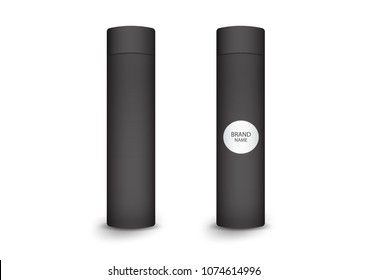3d cylindrical box package, product design,Vector illustration.