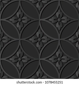 3D dark paper art Round Cross Frame Flower, Vector stylish decoration pattern background for web banner greeting card design
