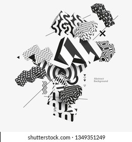 3D decorative shapes. Abstract vector illustration.
