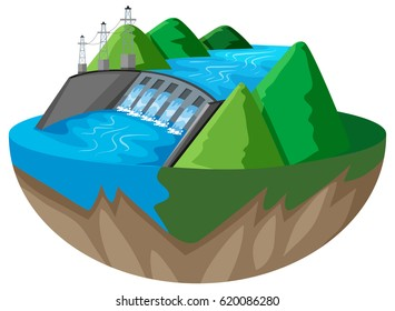 3D design for dam in the mountain illustration