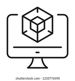 3D design icon. Line style