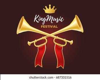 3d design of shiny golden metal horn. Realistic vector illustration of crossed trumpet with red ribbon, crown and text on dark background. Announcement of a music festival concept for web, banner