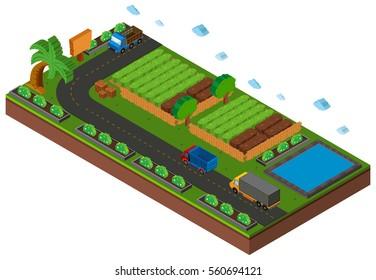 3D design for vegetables growing on farmland illustration