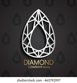 3d diamond pear shape silver logo / vector illustration