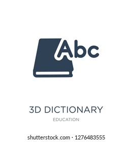 3d dictionary icon vector on white background, 3d dictionary trendy filled icons from Education collection, 3d dictionary vector illustration