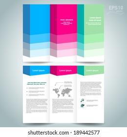3d dimensional design brochure template folder leaflet colored element white background