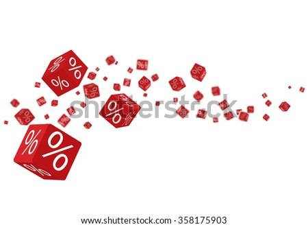 3D discount boxes dice for store market and shop. Sale promotional concept with percents