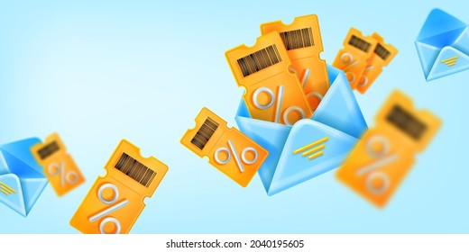 3D discount coupon sale banner, vector yellow ticket, open envelope illustration, customer gift background. Lucky present offer, loyalty program benefit concept. 3D shopping coupon promotional card
