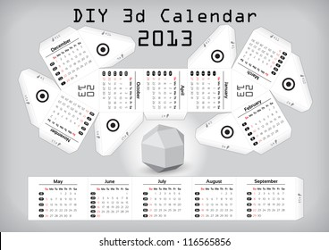 3d DIY Calendar 2013 � Compiled size: 3,1��2,9 inch