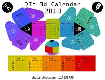 3d DIY Calendar 2013 3,1Ã?Â?2,9 inch compiled size