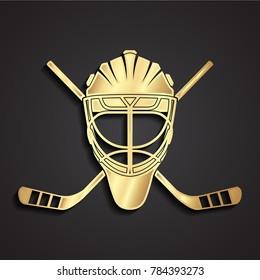 3d dolgen ice hockey goal keeper helmet with crossed hockey sticks