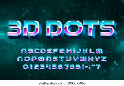 3D Dots alphabet font. Digital letters and numbers. Pixel background. 80s arcade video game typescript.