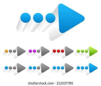 3d Dotted arrow and progress indicators
