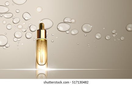 3D dropper bottle of collagen hydration moisturizer. Face skincare premium ad design template. Gold water, oil drops background. Vector illustration.