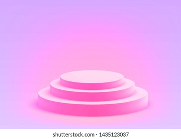 3D Duotone Geometric Studio Scene with Stage Podium Form, Empty Showroom Pedestal, Conceptual Trendy Color, Rave Style, Creative 2D Visualization of 3d Graphic, Eps10 Vector Illustration - Vector
