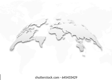 3D Earth globe with shadow on isolated background