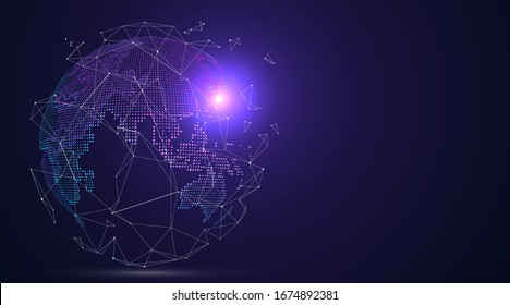 3D earth graphic symbolizing global trade, vector illustration.