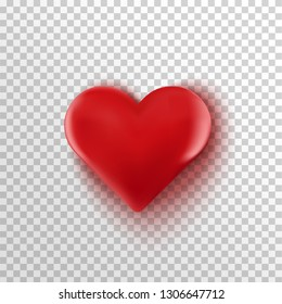 3D eed heart isolated on transparent background. Happy Valentine's day greeting template. Vector illustration
