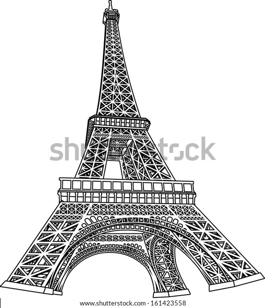 - 3d Eiffel Tower Coloring Book Illustration Stock Vector (Royalty Free)  161423558