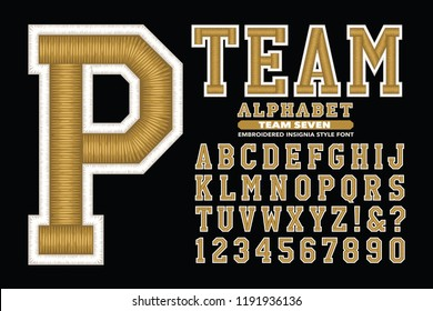 A 3d embroidery style sports font similar to stitched letters on sports caps and jackets. Also appropriate for university or college gear