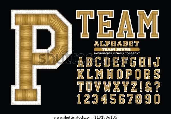 3d Embroidery Style Sports Font Similar Stock Vector