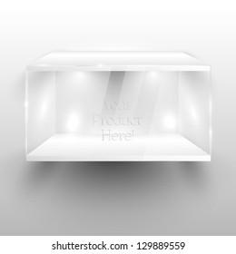 3d Empty glass showcase for exhibit. Vector illustration.