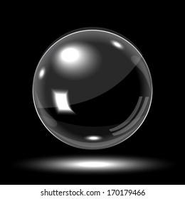 3D empty glass sphere. Vector illustration