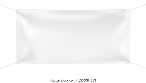 3d Empty rectangular Horizontal Banner with 4 holes and ropes. Vector realistic template on white background for Your Design and Advertising. Awning, Textiles, PVC, Vinyl, Nylon, Banner, billboard ect