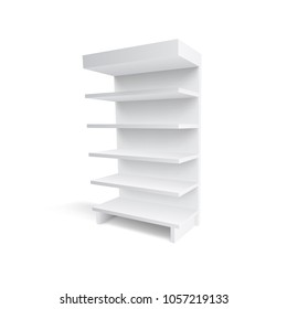 3D Empty Showcase Display With Retail Shelves. EPS10 Vector