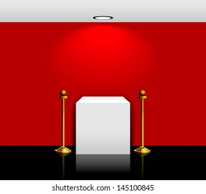3d Empty white stand with red wall for your exhibit. Vector illustration.