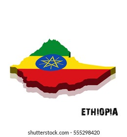 3D Ethiopia map and flag