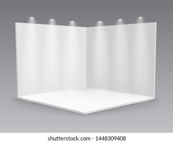 3D exhibition booth. White empty promotional. Vector white empty geometric square. Presentation event room display. Blank box template